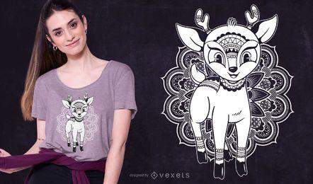 Design de t-shirt com mandala de cervos para bebês