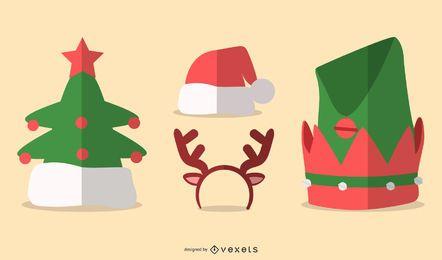 Conjunto plano de sombreros de Navidad