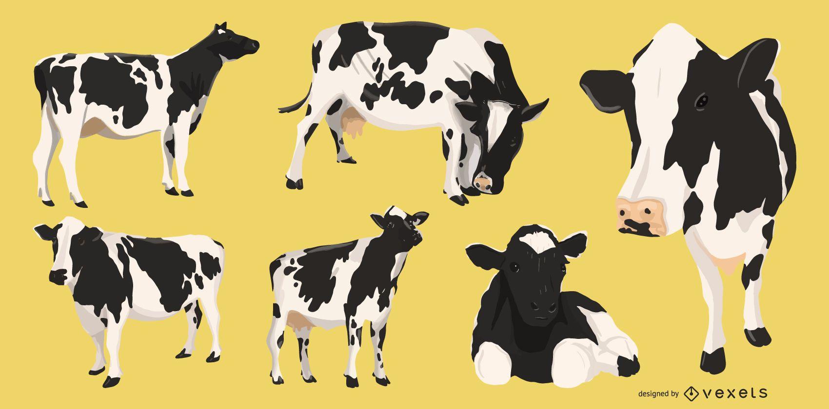 Colección de ilustraciones de vacas
