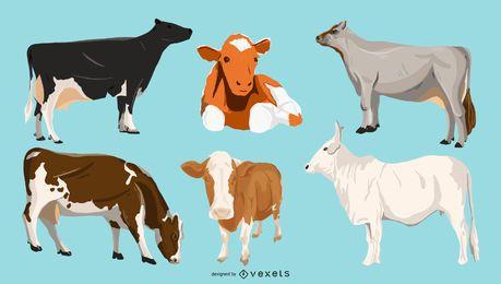 Paquete de ilustración de vacas