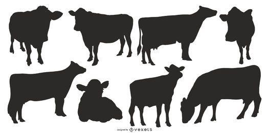 Coleção de silhuetas de vacas