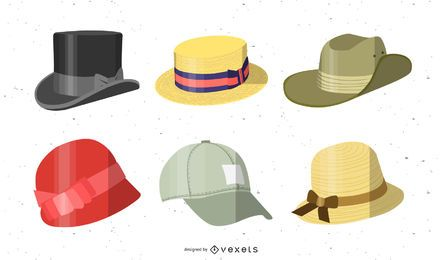 Conjunto de variedad de sombrero de diseño plano