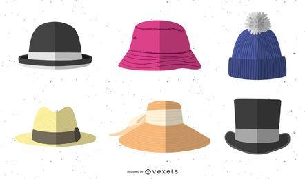 Paquete de diseño de sombrero plano