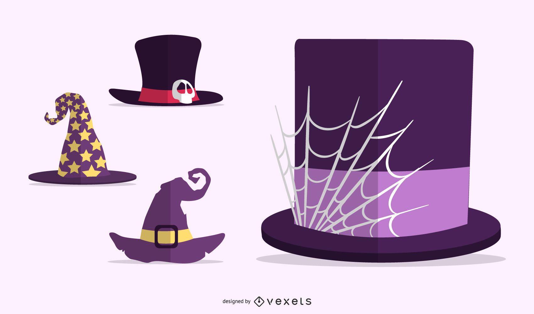 Conjunto plano de chapéus de Halloween