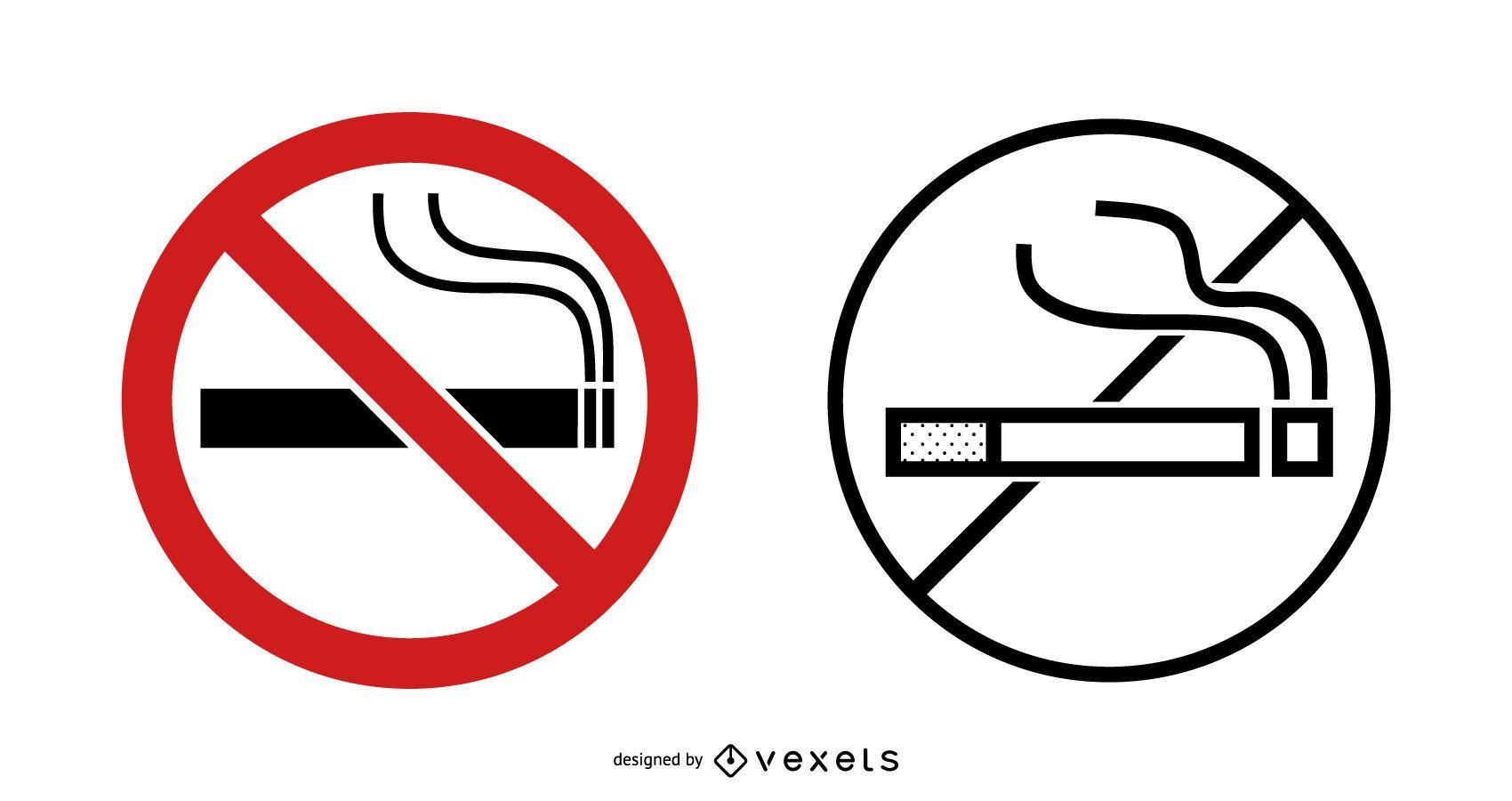Conjunto de señales de no fumar