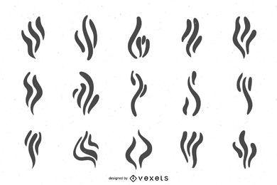 Conjunto de diseño de iconos de humo
