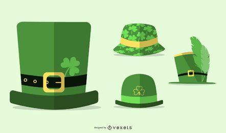 Conjunto plano de chapéus do dia de São Patrício