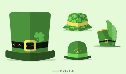St Patrick's day hats flat set