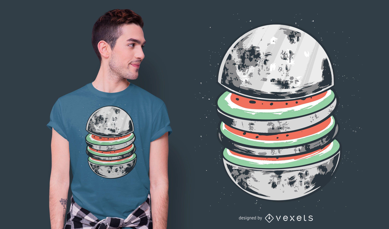 Diseño de camiseta sandía luna