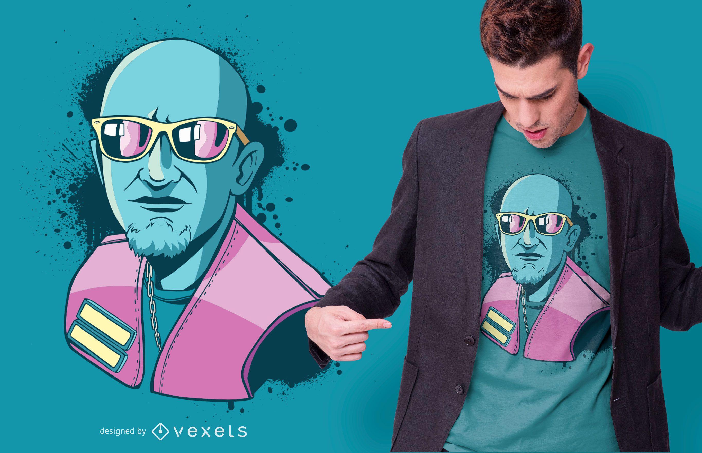 Diseño de camiseta de chico de gafas de sol.