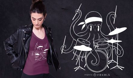 Design de t-shirt de polvo baterista