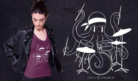 Diseño de camiseta de pulpo baterista