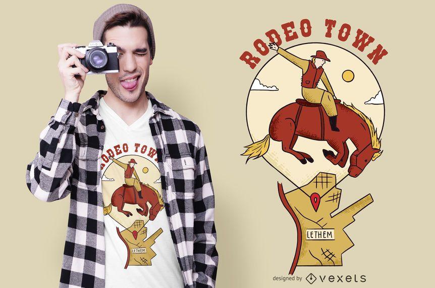 Design de t-shirt de cidade de rodeio