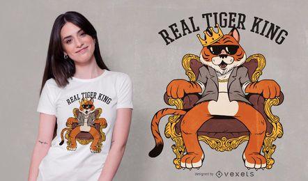 Projeto real do t-shirt do rei do tigre
