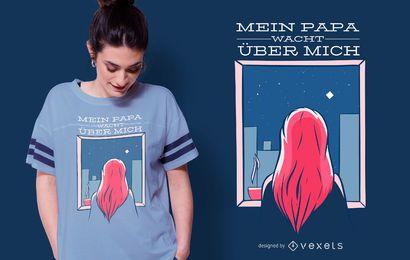 Design alemão do t-shirt das citações da menina do céu noturno