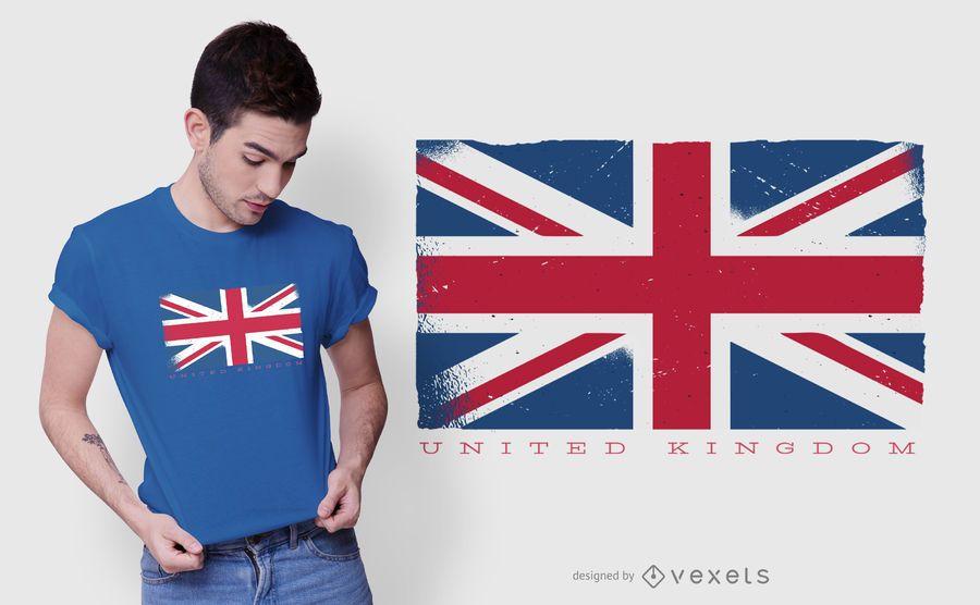 Diseño de camiseta de la bandera del grunge del Reino Unido