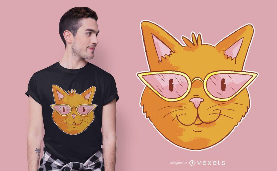 Design elegante de t-shirt de gato de óculos