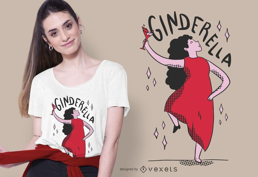 Ginderella Funny Cartoon T-shirt Design