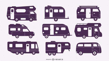 Set Flat Silhouette Camper Van