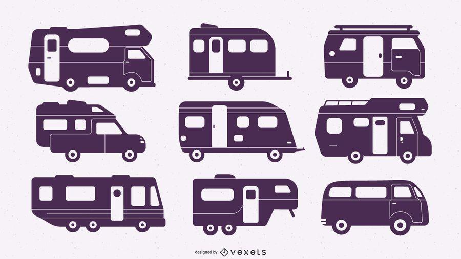 Conjunto de furgoneta camper de silueta plana