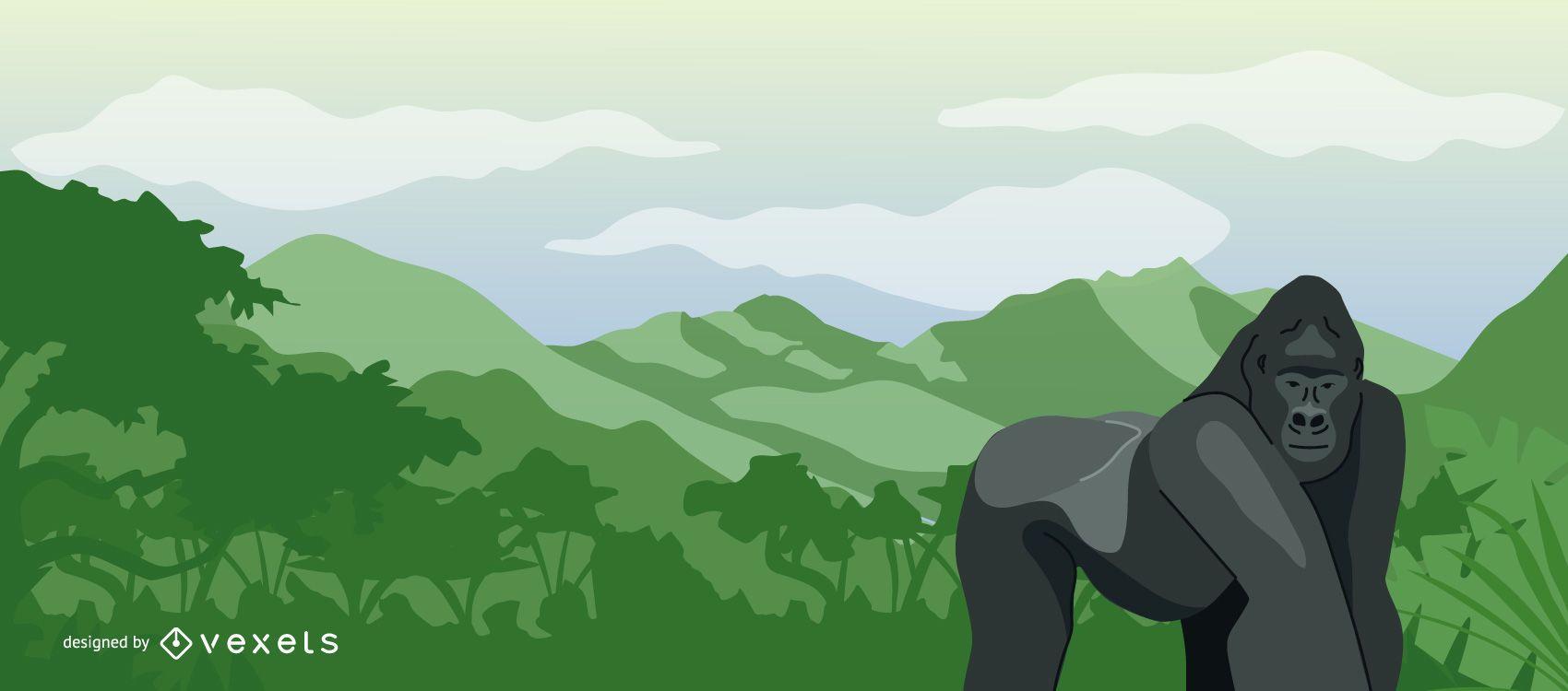 Ilustración de gorila de paisaje de Congo