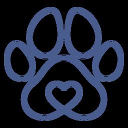 Trazo de huella de perro azul