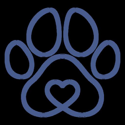 Blue dog footprint stroke Transparent PNG