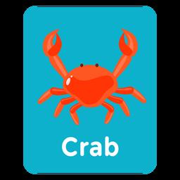 Tarjeta de vocabulario de cangrejo