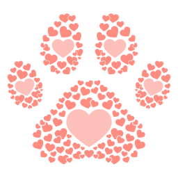 Dog footprint hearts flat