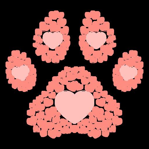 Corazones de huella de perro planos