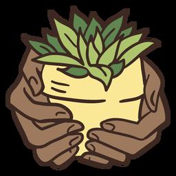 Grabbing house plant illustration