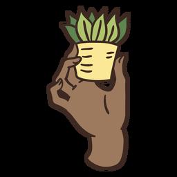 Grabbing tiny house plant illustration