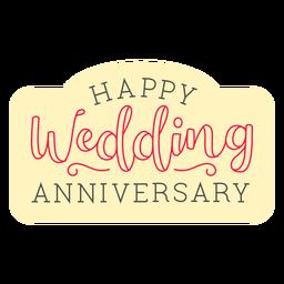 Distintivo de aniversário de casamento feliz