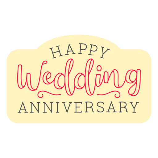 Happy wedding anniversary badge Transparent PNG