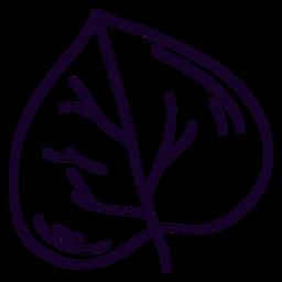 Doodle de hoja en forma de corazón