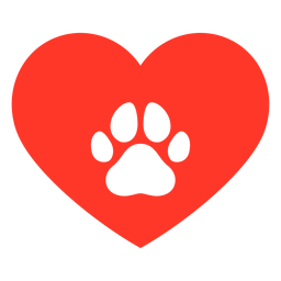 Heart dog footprint flat
