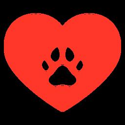 Pegada de cachorro com coração plana