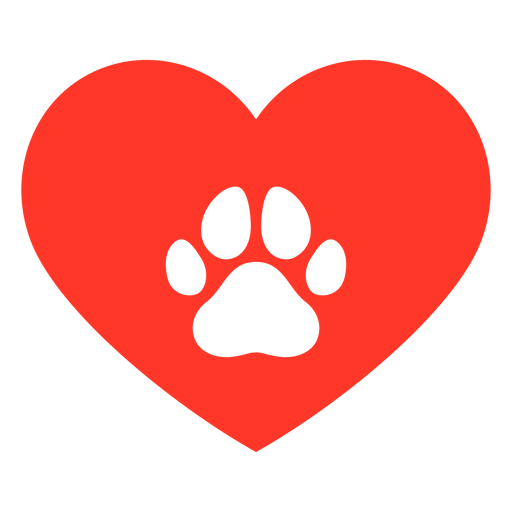Heart dog footprint flat Transparent PNG