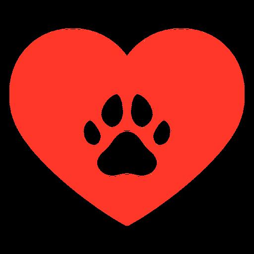 Huella de perro corazón plano