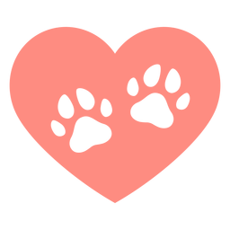 Heart dog footprints flat
