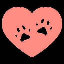 Pegadas de cão com coração planas