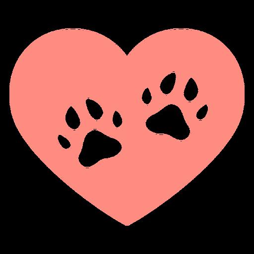 Heart dog footprints flat