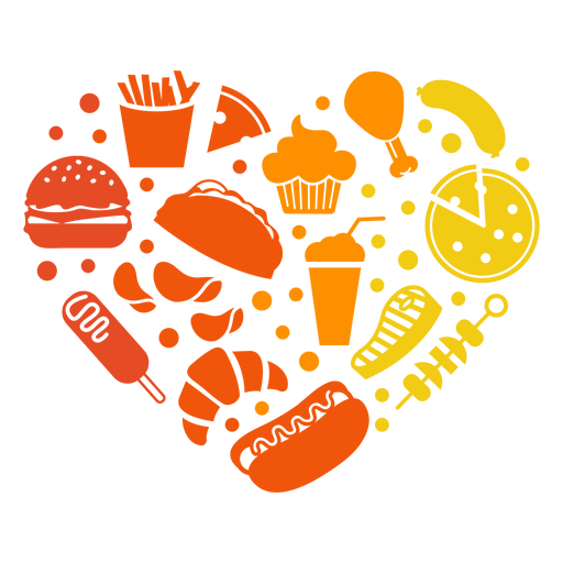 Heart of fast food Transparent PNG