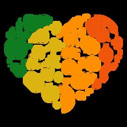 Coração de frutas e legumes