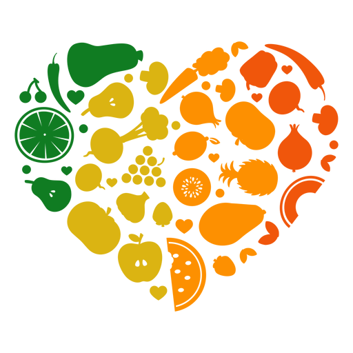 Heart of fruits and vegetables Transparent PNG
