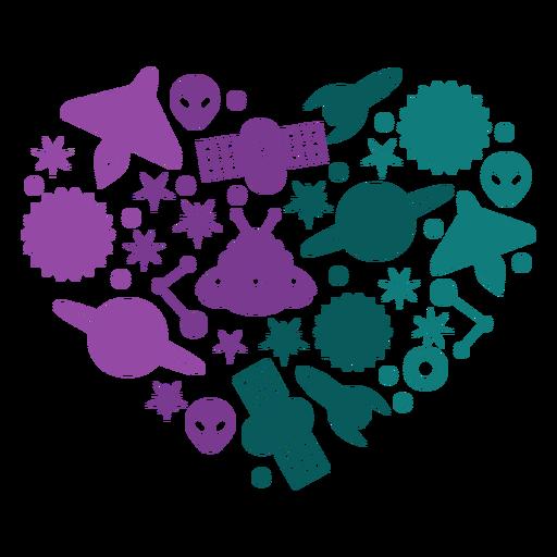 Elementos del corazón del espacio Transparent PNG