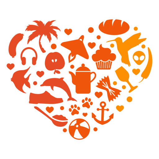 Heart of summer items Transparent PNG