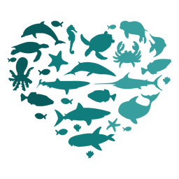 Animais marinhos do coração