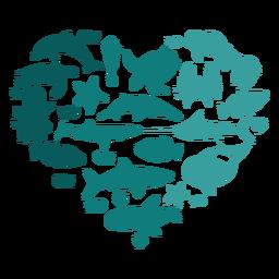 Animales marinos del corazón
