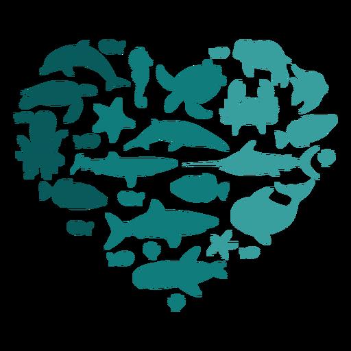 Heart sea animals